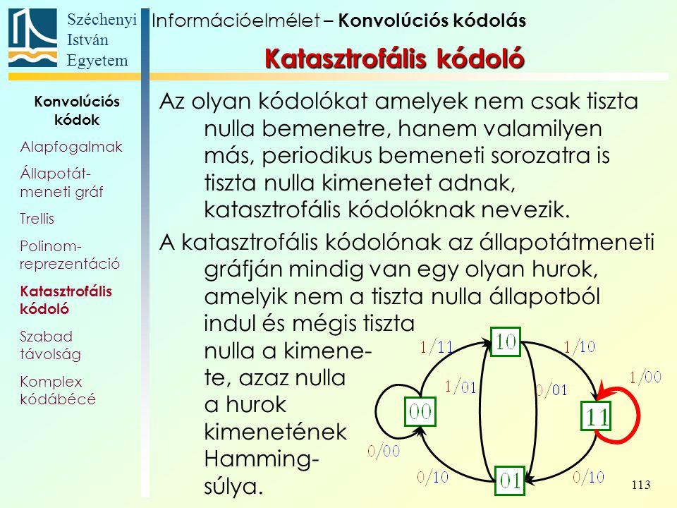 Széchenyi István Egyetem 113 Az olyan kódolókat amelyek nem csak tiszta nulla bemenetre, hanem valamilyen más, periodikus bemeneti sorozatra is tiszta nulla kimenetet adnak, katasztrofális kódolóknak nevezik.
