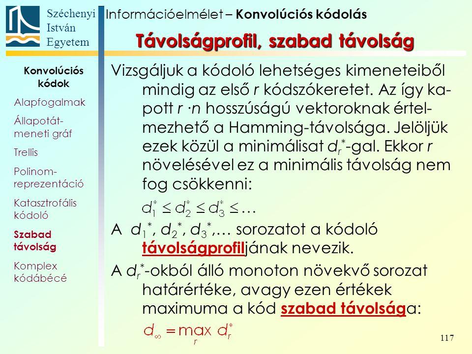 Széchenyi István Egyetem 117 Távolságprofil, szabad távolság Vizsgáljuk a kódoló lehetséges kimeneteiből mindig az első r kódszókeretet.