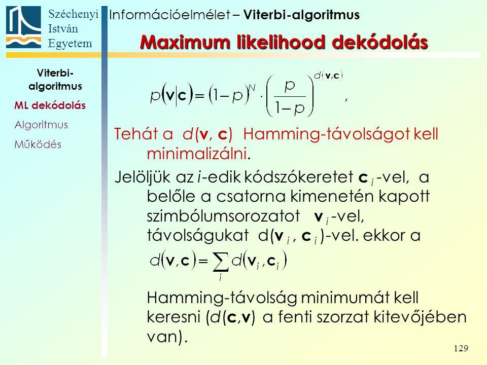 Széchenyi István Egyetem 129 Tehát a d( v, c ) Hamming-távolságot kell minimalizálni. Jelöljük az i-edik kódszókeretet c i -vel, a belőle a csatorna k