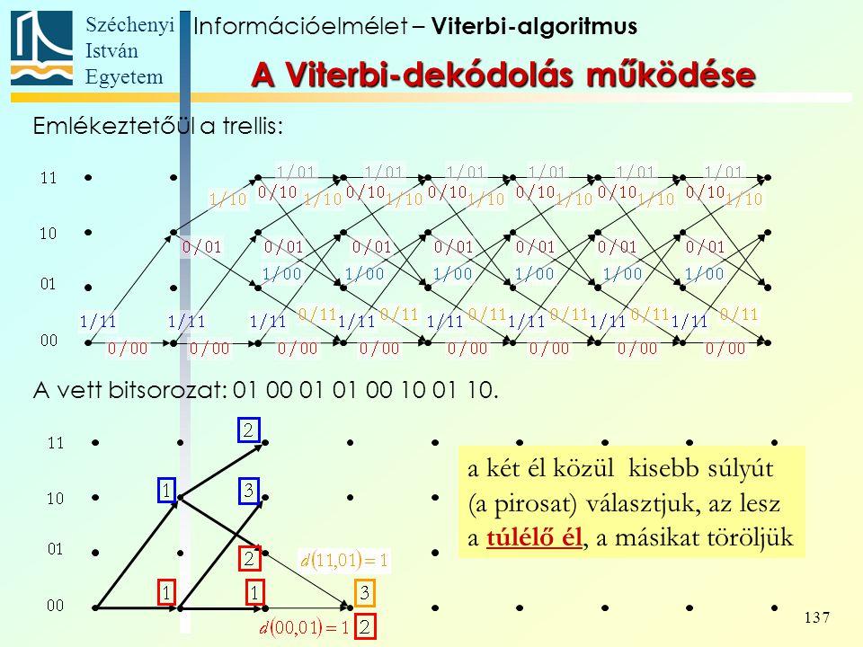 Széchenyi István Egyetem 137 a két él közül kisebb súlyút (a pirosat) választjuk, az lesz a túlélő él, a másikat töröljük Információelmélet – Viterbi-algoritmus A Viterbi-dekódolás működése Emlékeztetőül a trellis: A vett bitsorozat: 01 00 01 01 00 10 01 10.