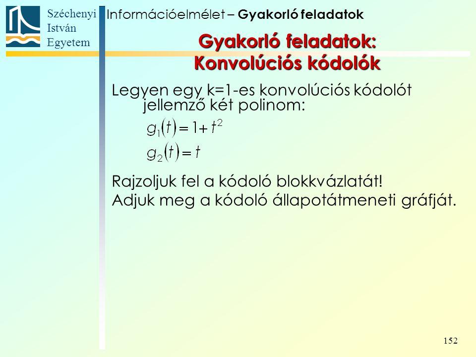 Széchenyi István Egyetem 152 Gyakorló feladatok: Konvolúciós kódolók Legyen egy k=1-es konvolúciós kódolót jellemző két polinom: Rajzoljuk fel a kódoló blokkvázlatát.