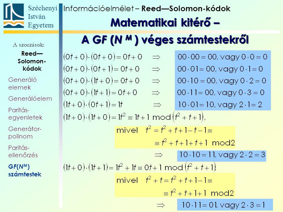 Széchenyi István Egyetem 21 A szorzások: Információelmélet – Reed—Solomon-kódok Reed— Solomon- kódok Generáló elemek Generálóelem Paritás- egyenletek
