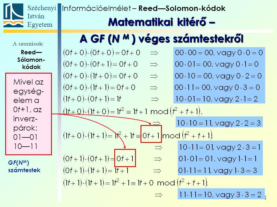 Széchenyi István Egyetem 22 Reed— Sólomon- kódok Generáló elemek Generálóelem Paritás- egyenletek Generátor- polinom Paritás- ellenőrzés GF ( N M ) számtestek A szorzások: Mivel az egység- elem a 0t+1, az inverz- párok: 01—01 10—11 Információelmélet – Reed—Solomon-kódok Matematikai kitérő – A GF ( N M ) véges számtestekről