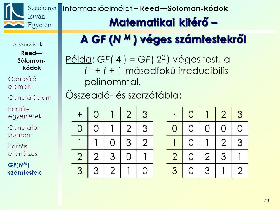 Széchenyi István Egyetem 23 Reed— Sólomon- kódok Generáló elemek Generálóelem Paritás- egyenletek Generátor- polinom Paritás- ellenőrzés GF ( N M ) számtestek A szorzások: Információelmélet – Reed—Solomon-kódok Matematikai kitérő – A GF ( N M ) véges számtestekről Példa: GF( 4 ) = GF( 2 2 ) véges test, a t 2 + t + 1 másodfokú irreducíbilis polinommal.