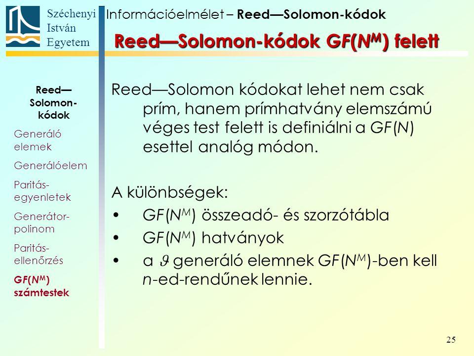 Széchenyi István Egyetem 25 Reed—Solomon kódokat lehet nem csak prím, hanem prímhatvány elemszámú véges test felett is definiálni a GF(N) esettel analóg módon.