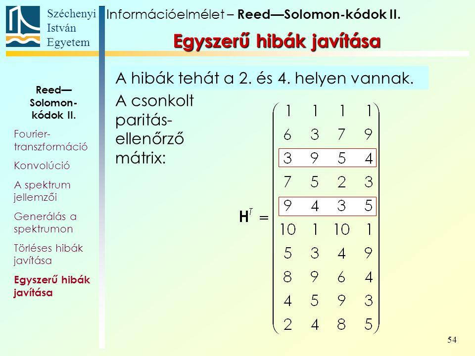 Széchenyi István Egyetem 54 Egyszerű hibák javítása Információelmélet – Reed—Solomon-kódok II. Reed— Solomon- kódok II. Fourier- transzformáció Konvol