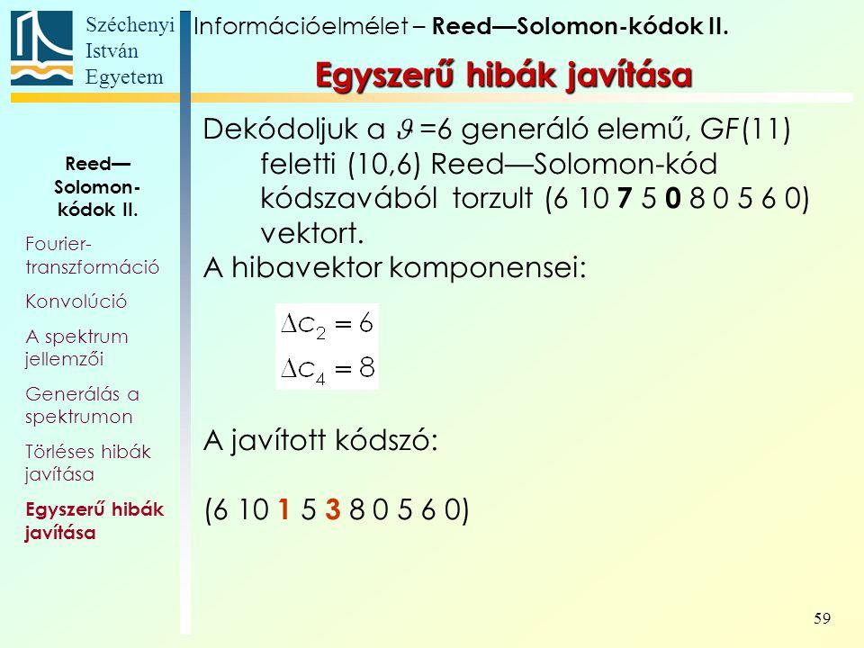 Széchenyi István Egyetem 59 Egyszerű hibák javítása Információelmélet – Reed—Solomon-kódok II. Reed— Solomon- kódok II. Fourier- transzformáció Konvol