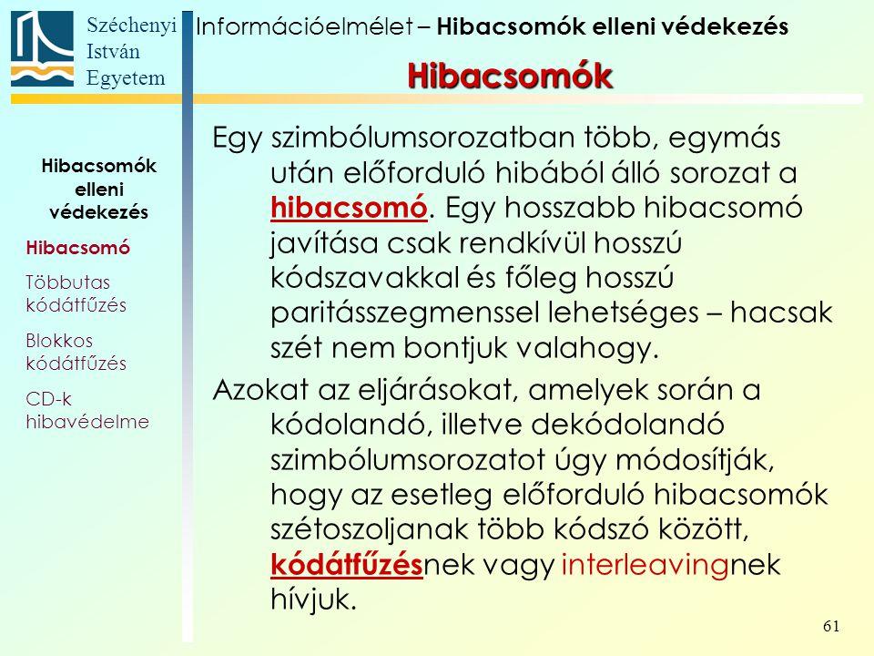 Széchenyi István Egyetem 61 Hibacsomók Egy szimbólumsorozatban több, egymás után előforduló hibából álló sorozat a hibacsomó. Egy hosszabb hibacsomó j