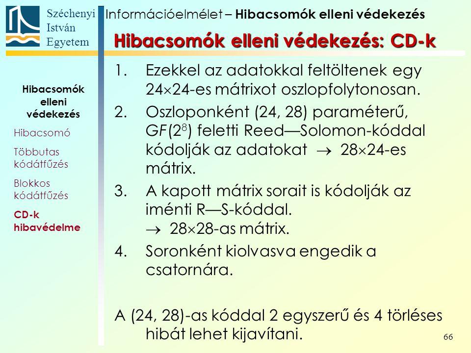 Széchenyi István Egyetem 66 1.Ezekkel az adatokkal feltöltenek egy 24  24-es mátrixot oszlopfolytonosan. 2.Oszloponként (24, 28) paraméterű, GF(2 8 )