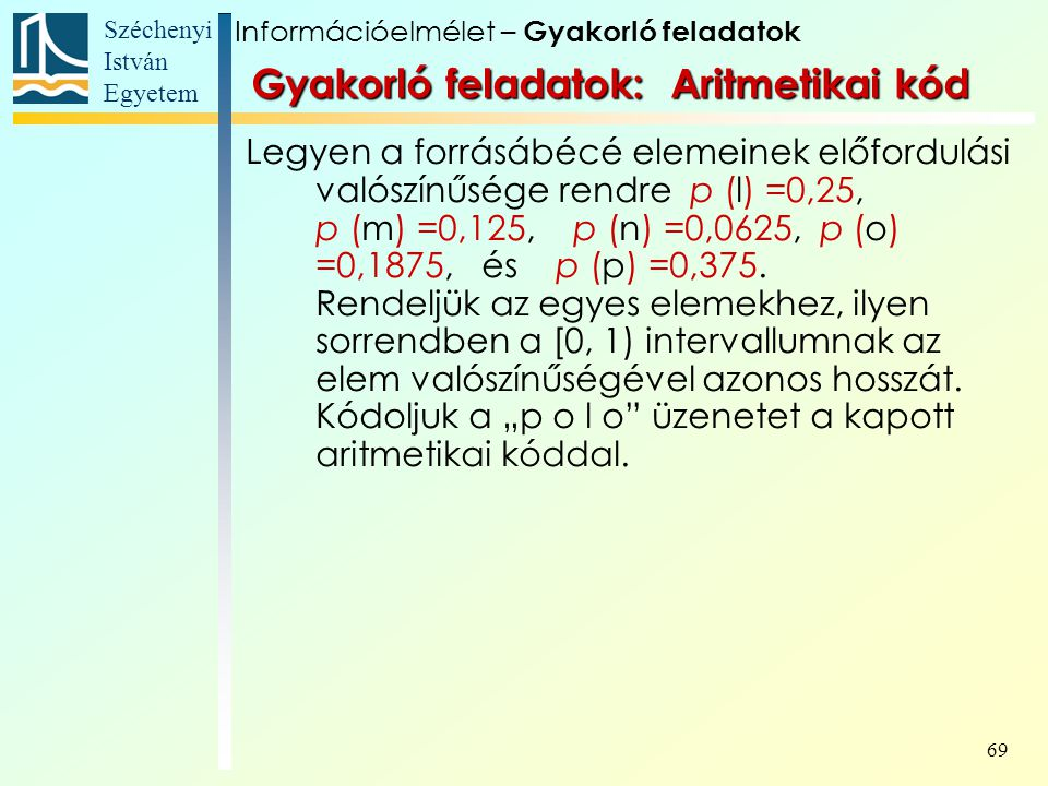 Széchenyi István Egyetem 69 Gyakorló feladatok: Aritmetikai kód Legyen a forrásábécé elemeinek előfordulási valószínűsége rendre p (l) =0,25, p (m) =0,125, p (n) =0,0625, p (o) =0,1875, és p (p) =0,375.