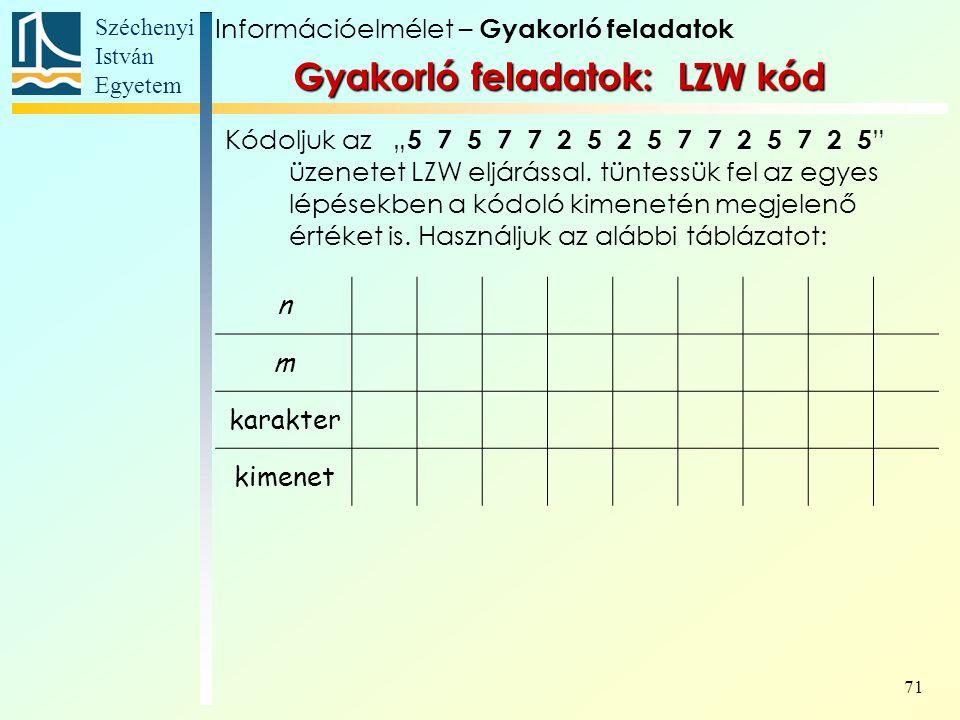 """Széchenyi István Egyetem 71 Gyakorló feladatok: LZW kód Kódoljuk az """" 5 7 5 7 7 2 5 2 5 7 7 2 5 7 2 5 """" üzenetet LZW eljárással. tüntessük fel az egye"""