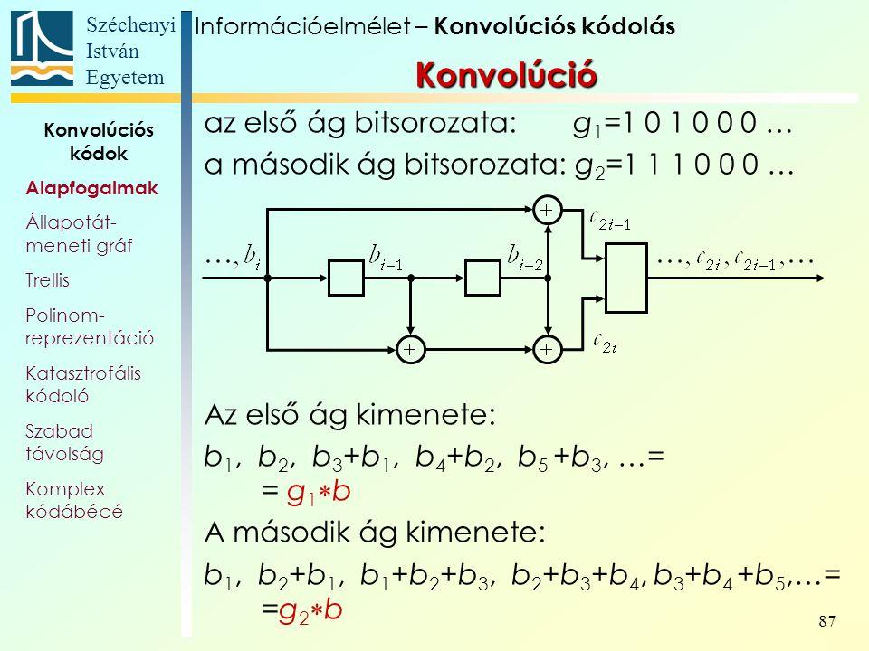 Széchenyi István Egyetem 87 Konvolúció az első ág bitsorozata: g 1 =1 0 1 0 0 0 … a második ág bitsorozata: g 2 =1 1 1 0 0 0 … Az első ág kimenete: b 1, b 2, b 3 +b 1, b 4 +b 2, b 5 +b 3, …= = g 1  b A második ág kimenete: b 1, b 2 +b 1, b 1 +b 2 +b 3, b 2 +b 3 +b 4, b 3 +b 4 +b 5,…= =g 2  b Információelmélet – Konvolúciós kódolás Konvolúciós kódok Alapfogalmak Állapotát- meneti gráf Trellis Polinom- reprezentáció Katasztrofális kódoló Szabad távolság Komplex kódábécé