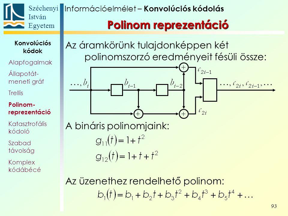 Széchenyi István Egyetem 93 Polinom reprezentáció Az áramkörünk tulajdonképpen két polinomszorzó eredményeit fésüli össze: A bináris polinomjaink: Az