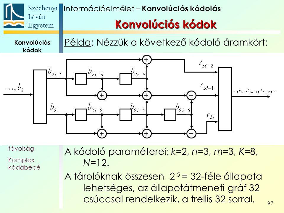 Széchenyi István Egyetem 97 Konvolúciós kódok Alapfogalmak Állapotát- meneti gráf Trellis Polinom- reprezentáció Katasztrofális kódoló Szabad távolság Komplex kódábécé Példa: Nézzük a következő kódoló áramkört: A kódoló paraméterei: k=2, n=3, m=3, K=8, N=12.