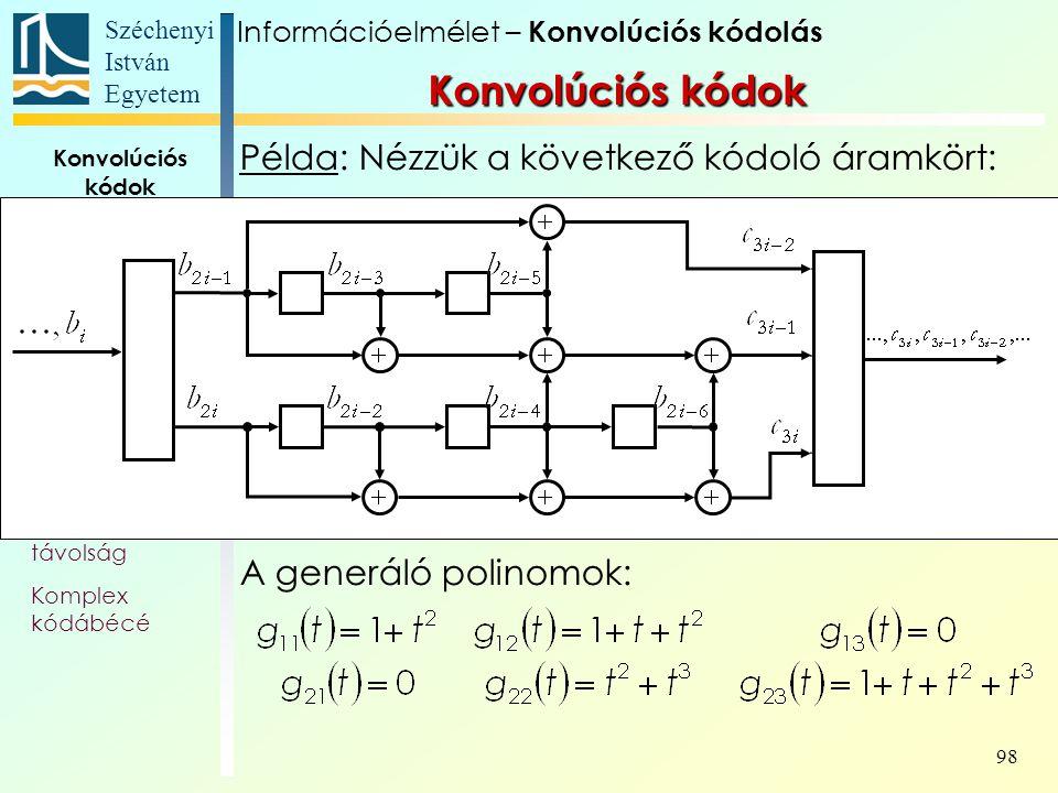Széchenyi István Egyetem 98 Konvolúciós kódok Alapfogalmak Állapotát- meneti gráf Trellis Polinom- reprezentáció Katasztrofális kódoló Szabad távolság Komplex kódábécé Példa: Nézzük a következő kódoló áramkört: A generáló polinomok: Konvolúciós kódok Információelmélet – Konvolúciós kódolás