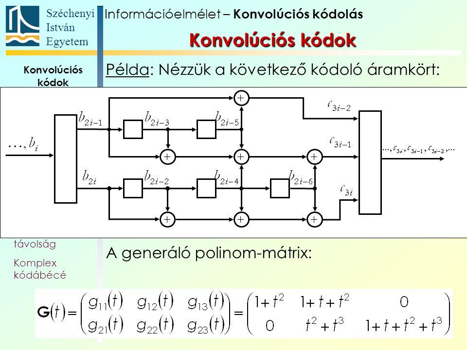 Széchenyi István Egyetem 99 Konvolúciós kódok Alapfogalmak Állapotát- meneti gráf Trellis Polinom- reprezentáció Katasztrofális kódoló Szabad távolság Komplex kódábécé Példa: Nézzük a következő kódoló áramkört: A generáló polinom-mátrix: Konvolúciós kódok Információelmélet – Konvolúciós kódolás