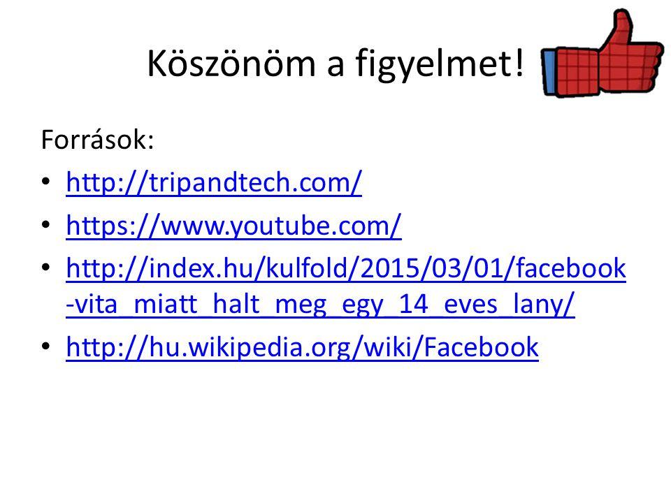 Köszönöm a figyelmet! Források: http://tripandtech.com/ https://www.youtube.com/ http://index.hu/kulfold/2015/03/01/facebook -vita_miatt_halt_meg_egy_