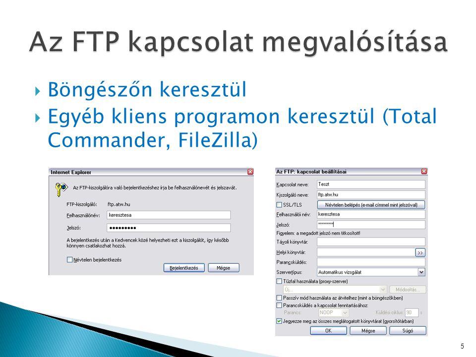  Böngészőn keresztül  Egyéb kliens programon keresztül (Total Commander, FileZilla) 5