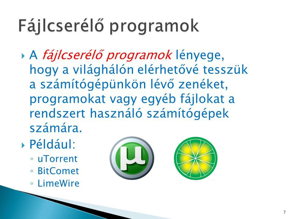 A fájlcserélő programok lényege, hogy a világhálón elérhetővé tesszük a számítógépünkön lévő zenéket, programokat vagy egyéb fájlokat a rendszert használó számítógépek számára.