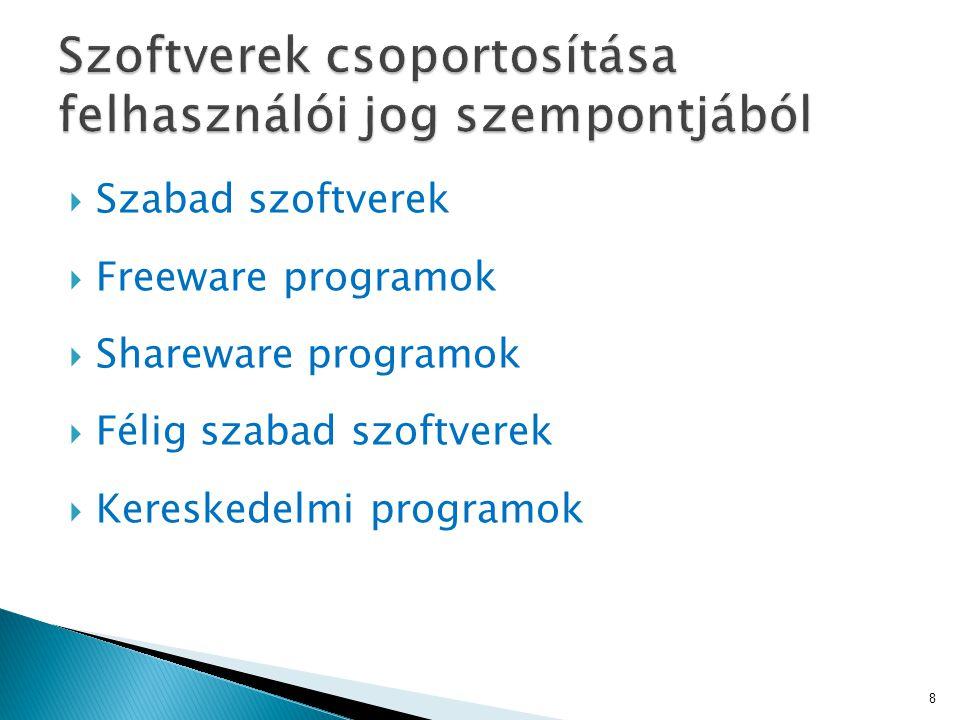  Szabad szoftverek  Freeware programok  Shareware programok  Félig szabad szoftverek  Kereskedelmi programok 8