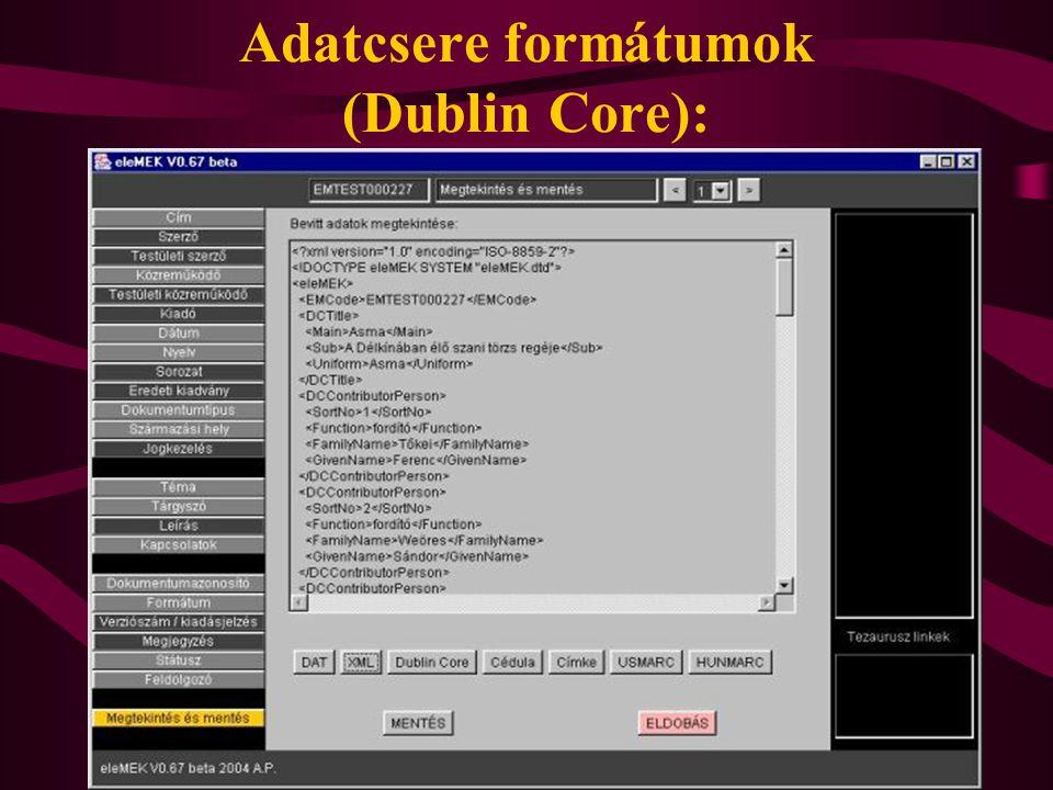 Adatcsere formátumok (Dublin Core):