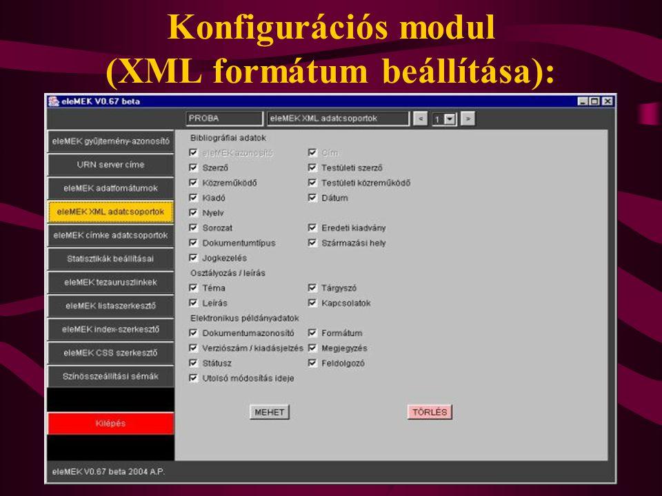 Konfigurációs modul (XML formátum beállítása):