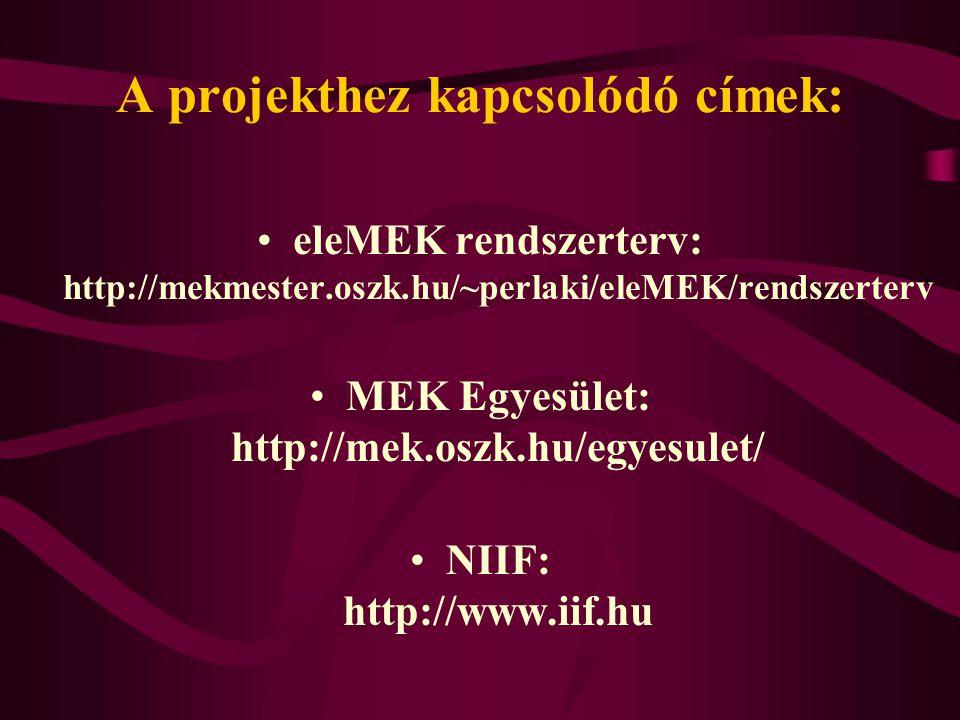 A projekthez kapcsolódó címek: eleMEK rendszerterv: http://mekmester.oszk.hu/~perlaki/eleMEK/rendszerterv MEK Egyesület: http://mek.oszk.hu/egyesulet/ NIIF: http://www.iif.hu