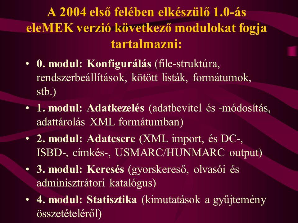 A 2004 első felében elkészülő 1.0-ás eleMEK verzió következő modulokat fogja tartalmazni: 0. modul: Konfigurálás (file-struktúra, rendszerbeállítások,