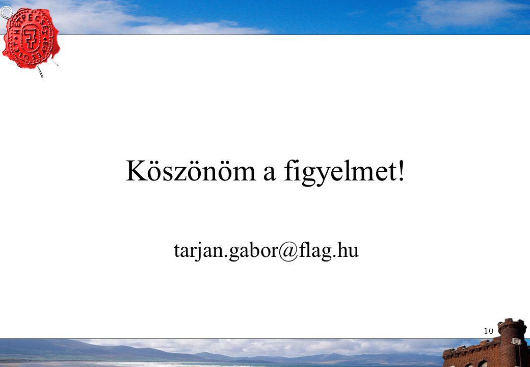 10 Köszönöm a figyelmet! tarjan.gabor@flag.hu