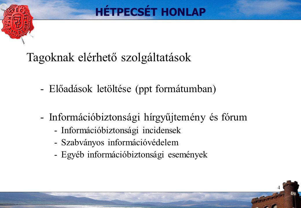 4 HÉTPECSÉT HONLAP Tagoknak elérhető szolgáltatások -Előadások letöltése (ppt formátumban) -Információbiztonsági hírgyűjtemény és fórum -Információbiz