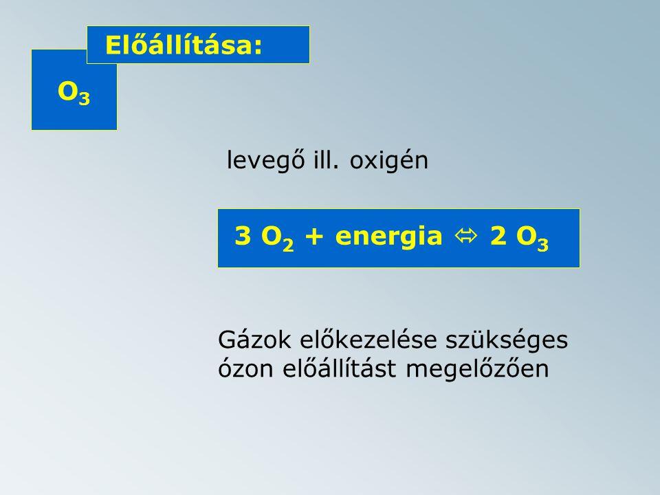 O3O3 Előállítása: levegő ill.