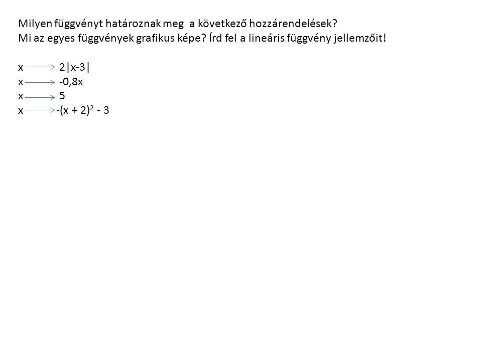 Milyen függvényt határoznak meg a következő hozzárendelések? Mi az egyes függvények grafikus képe? Írd fel a lineáris függvény jellemzőit! x 2|x-3| x