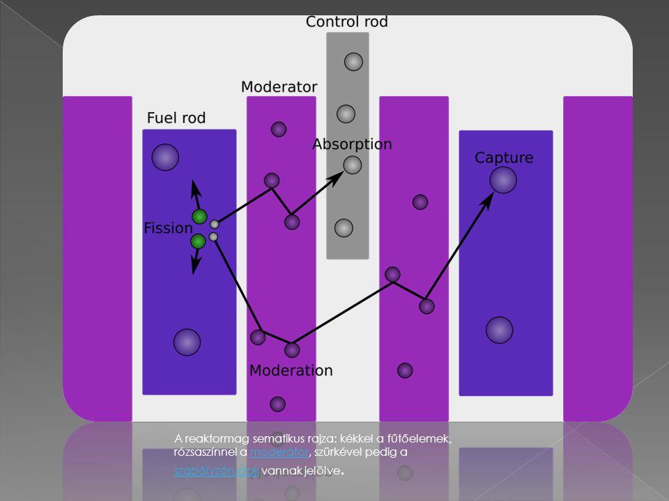 A reaktormag sematikus rajza: kékkel a fűtőelemek, rózsaszínnel a moderátor, szürkével pedig a szabályzórudak vannak jelölve.moderátor szabályzórudak