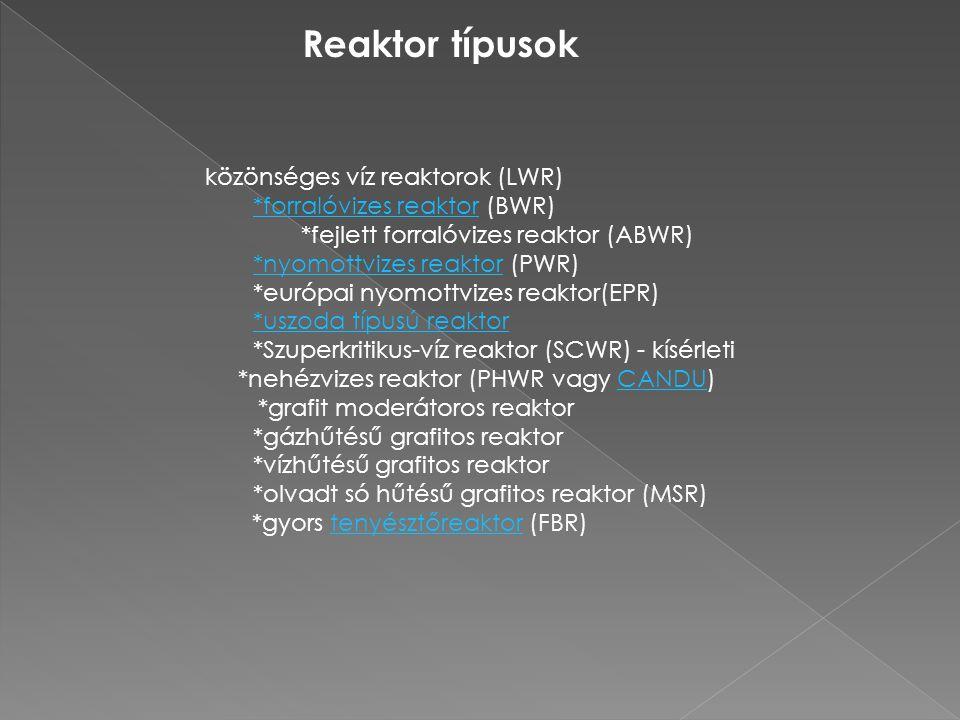 Reaktor típusok közönséges víz reaktorok (LWR) *forralóvizes reaktor*forralóvizes reaktor (BWR) *fejlett forralóvizes reaktor (ABWR) *nyomottvizes rea