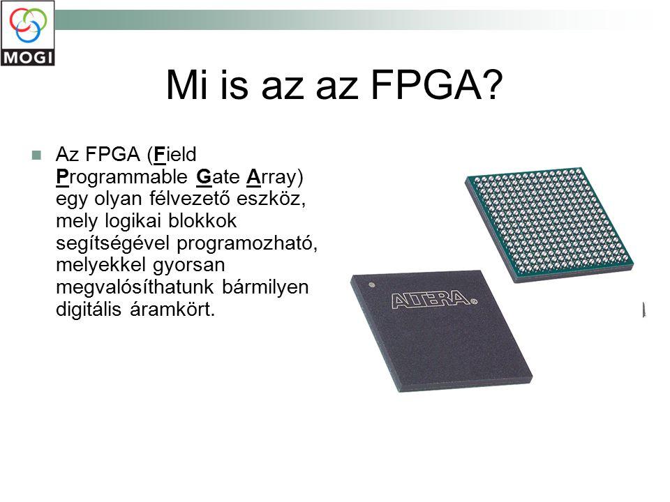 Mi is az az FPGA? Az FPGA (Field Programmable Gate Array) egy olyan félvezető eszköz, mely logikai blokkok segítségével programozható, melyekkel gyors