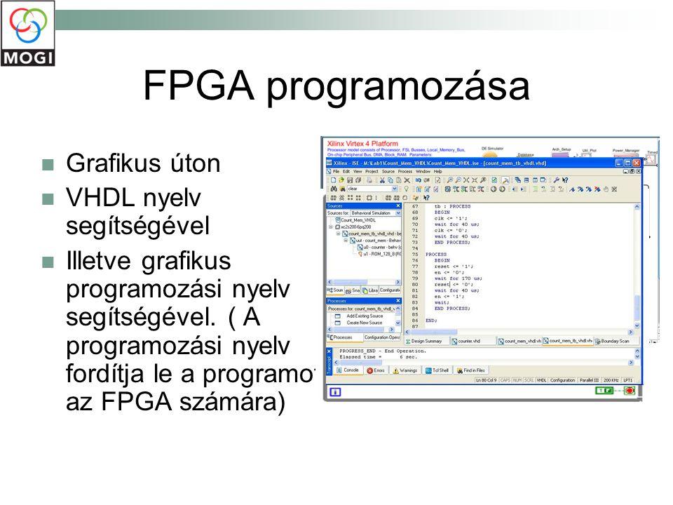 FPGA programozása Grafikus úton VHDL nyelv segítségével Illetve grafikus programozási nyelv segítségével. ( A programozási nyelv fordítja le a program