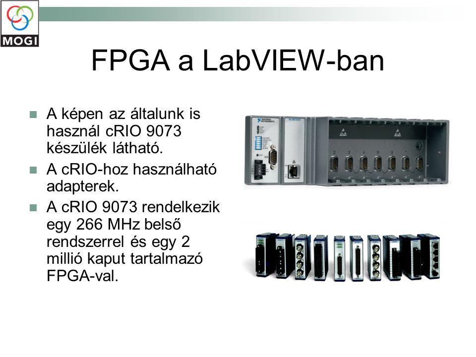 FPGA a LabVIEW-ban A képen az általunk is használ cRIO 9073 készülék látható. A cRIO-hoz használható adapterek. A cRIO 9073 rendelkezik egy 266 MHz be