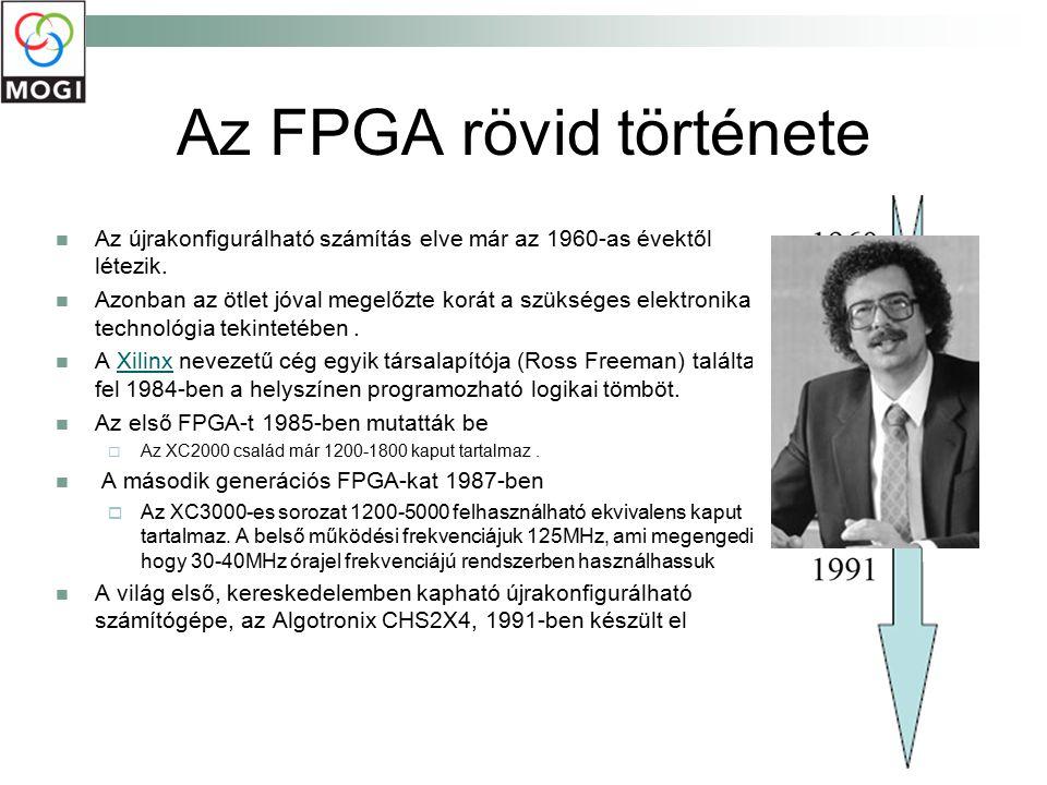 FPGA Egyre több cég teszi elérhetővé a felhasználó számára az FPGA programozásának lehetőségét Felhasználók számára is megnyílik az FPGA kihasználásának lehetősége Például: tesztmérnökök egyedi algoritmust telepíthetnek a készülékbe, hogy az FPGA belül elvégezze a feldolgozást, vagy emulálhatják egy rendszer valós idejű működést igénylő részét.