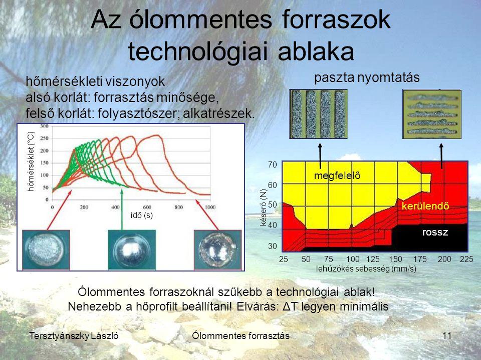Tersztyánszky LászlóÓlommentes forrasztás11 Az ólommentes forraszok technológiai ablaka hőmérsékleti viszonyok alsó korlát: forrasztás minősége, felső