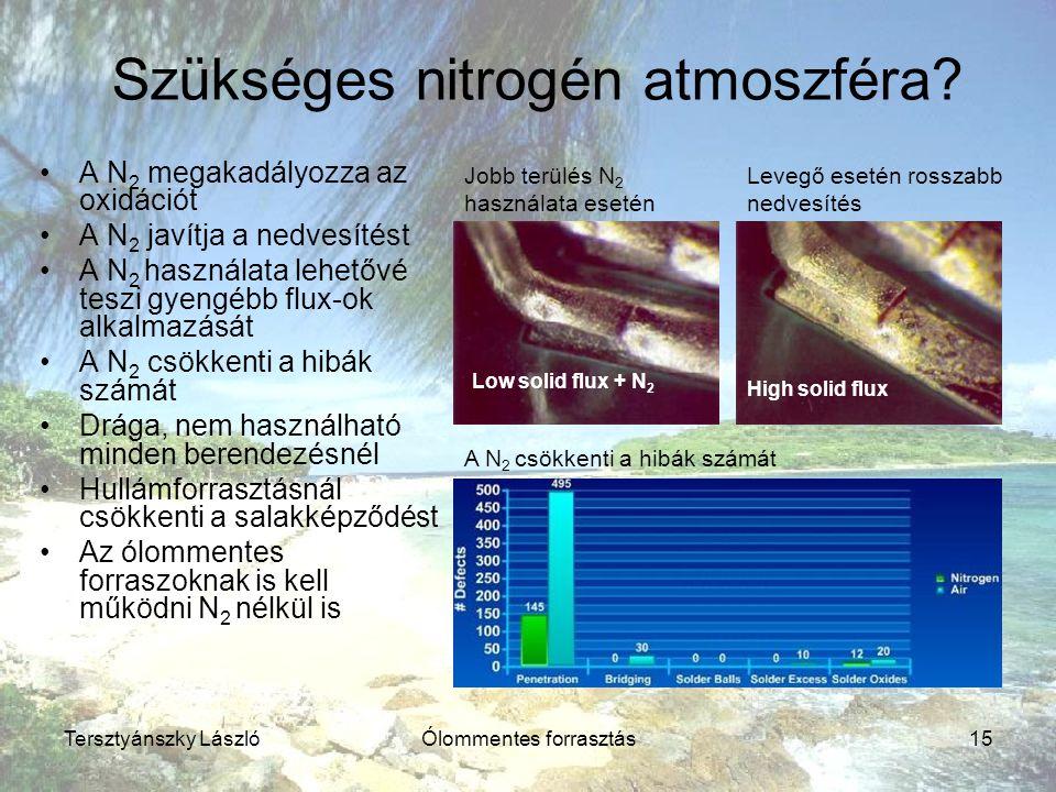 Tersztyánszky LászlóÓlommentes forrasztás15 Szükséges nitrogén atmoszféra? A N 2 megakadályozza az oxidációt A N 2 javítja a nedvesítést A N 2 használ