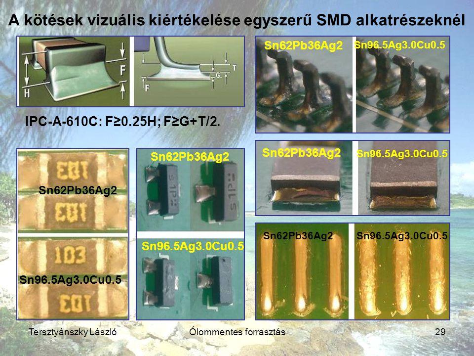 Tersztyánszky LászlóÓlommentes forrasztás29 A kötések vizuális kiértékelése egyszerű SMD alkatrészeknél Sn62Pb36Ag2 Sn96.5Ag3.0Cu0.5 IPC-A-610C: F≥0.2