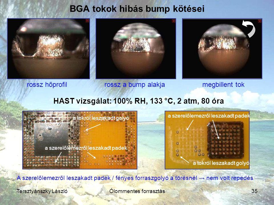 Tersztyánszky LászlóÓlommentes forrasztás35 BGA tokok hibás bump kötései HAST vizsgálat: 100% RH, 133 °C, 2 atm, 80 óra rossz hőprofilrossz a bump ala