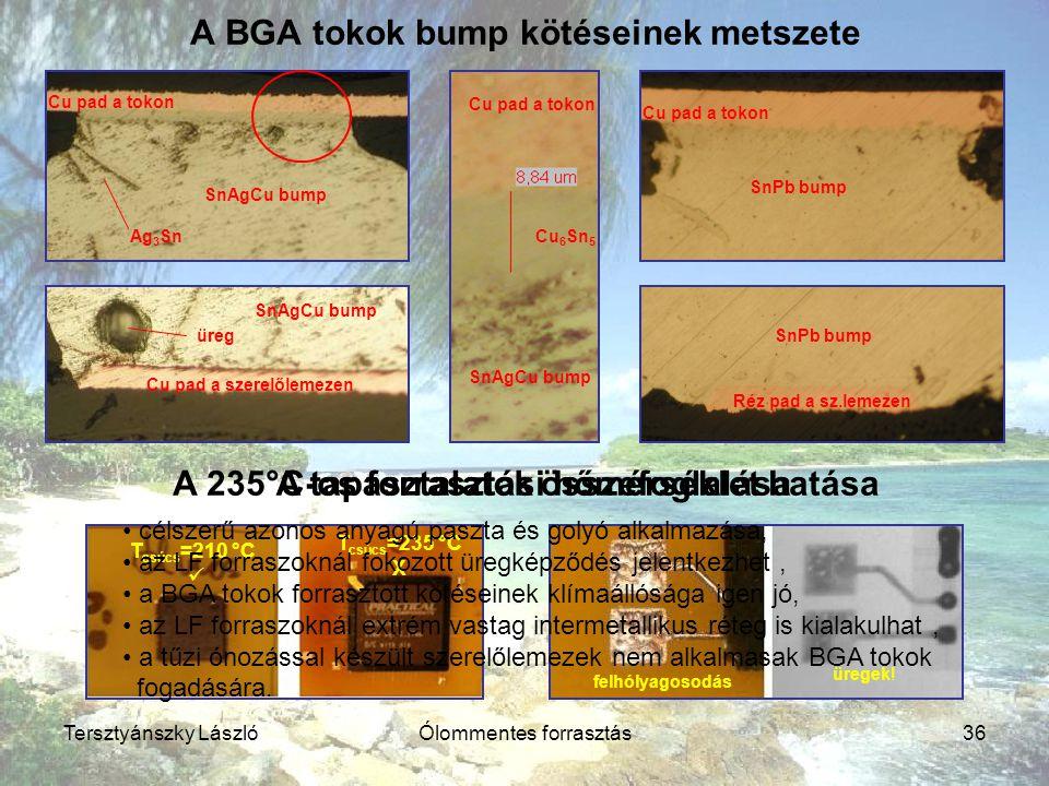Tersztyánszky LászlóÓlommentes forrasztás36 A BGA tokok bump kötéseinek metszete A 235°C-os forrasztási hőmérséklet hatása Cu pad a tokon SnAgCu bump