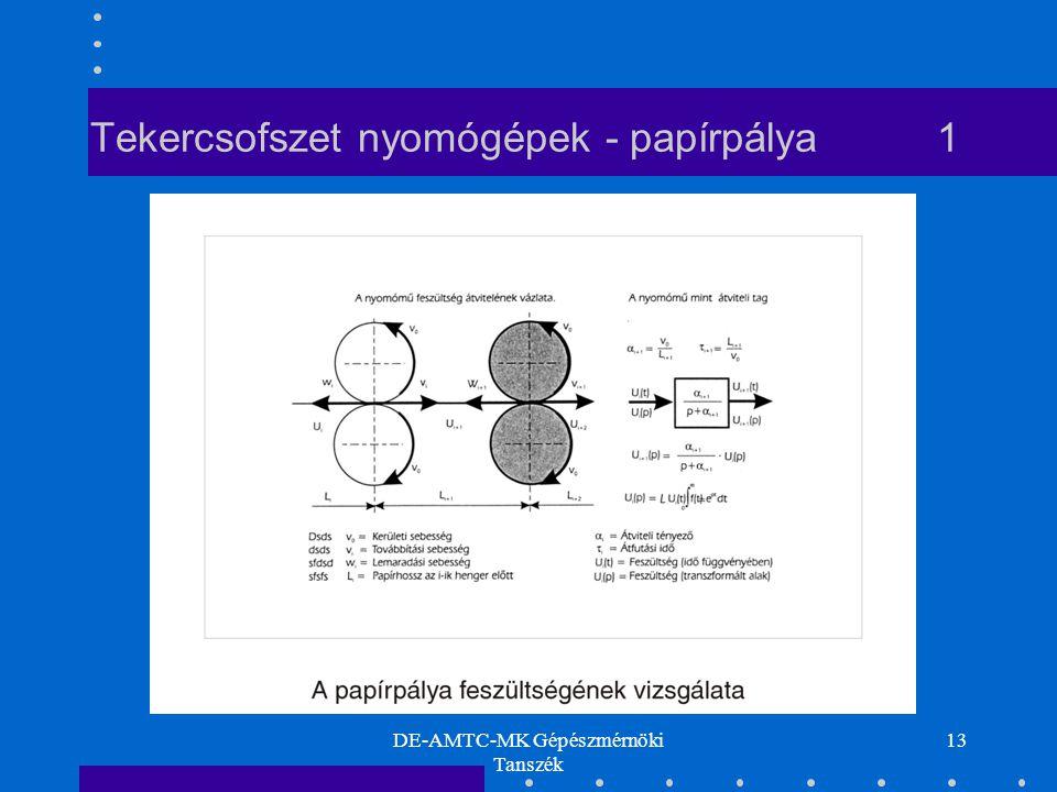 DE-AMTC-MK Gépészmérnöki Tanszék 13 Tekercsofszet nyomógépek - papírpálya 1