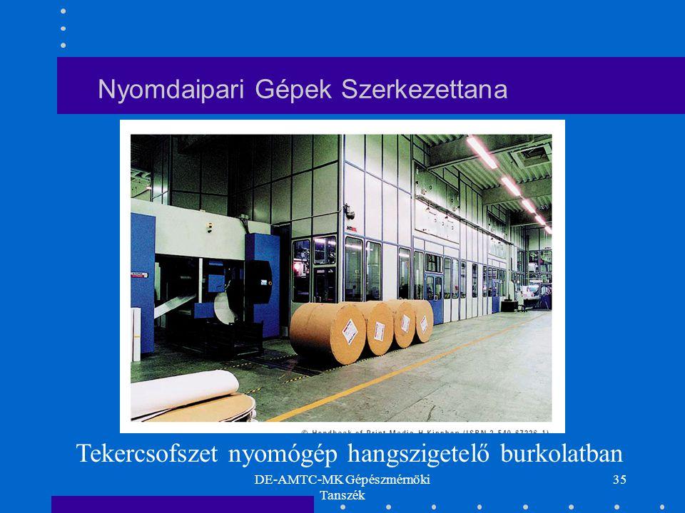 DE-AMTC-MK Gépészmérnöki Tanszék 35 Nyomdaipari Gépek Szerkezettana Tekercsofszet nyomógép hangszigetelő burkolatban