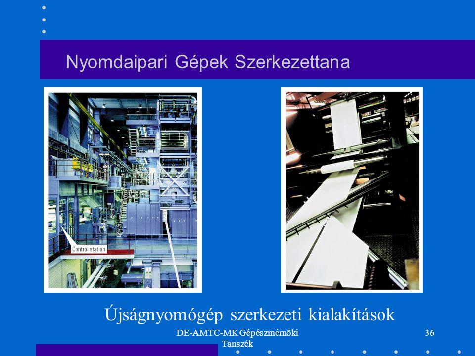DE-AMTC-MK Gépészmérnöki Tanszék 36 Nyomdaipari Gépek Szerkezettana Újságnyomógép szerkezeti kialakítások