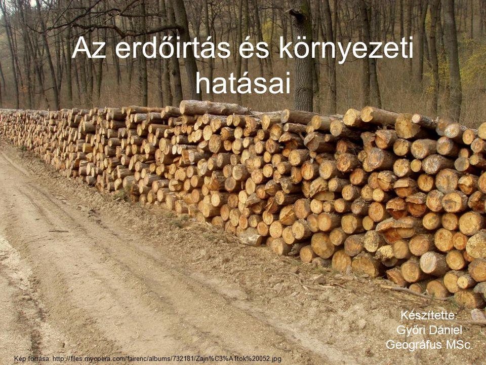 Az erdőirtás és környezeti hatásai Készítette: Győri Dániel Geográfus MSc. Kép forrása: http://files.myopera.com/fairenc/albums/732181/Zajn%C3%A1tok%2