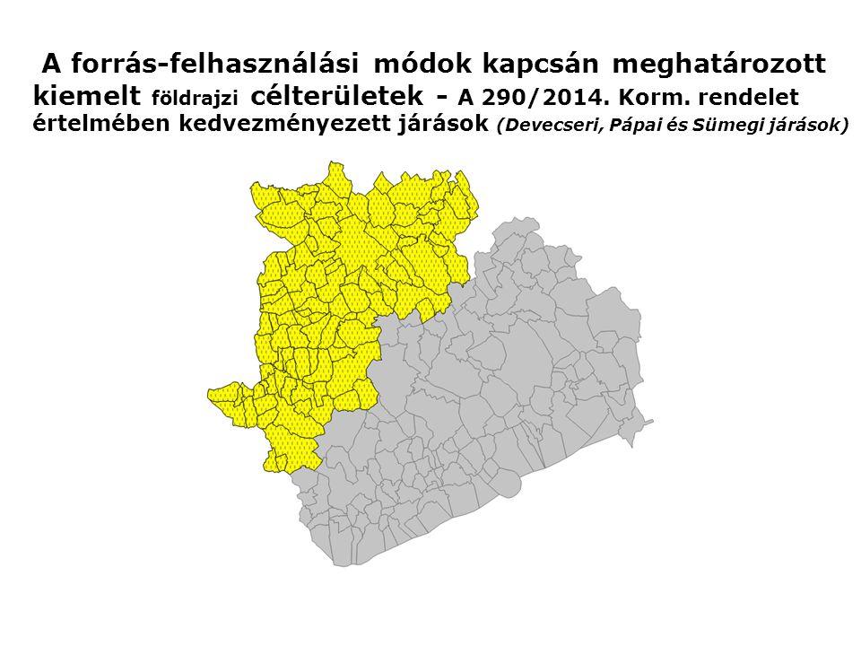 A forrás-felhasználási módok kapcsán meghatározott kiemelt földrajzi célterületek - A 290/2014. Korm. rendelet értelmében kedvezményezett járások (Dev