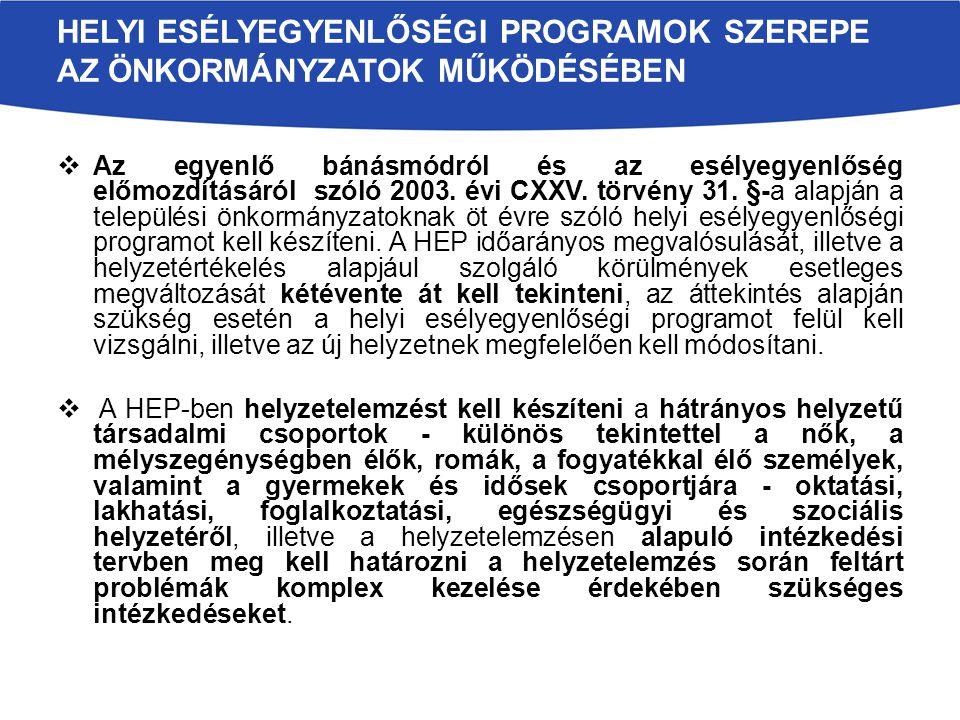  Az egyenlő bánásmódról és az esélyegyenlőség előmozdításáról szóló 2003.
