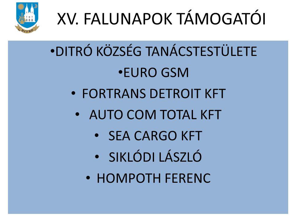 DITRÓ KÖZSÉG TANÁCSTESTÜLETE EURO GSM FORTRANS DETROIT KFT AUTO COM TOTAL KFT SEA CARGO KFT SIKLÓDI LÁSZLÓ HOMPOTH FERENC